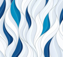 Seamless pattern with white and blue volumetric waves. Abstract background.